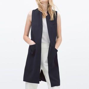 Zara long waistcoat in black with slits size m